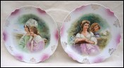 Pair Decorative Plates Young Ladies of Vienna Transferware 1900