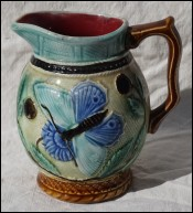 Butterfly Pitcher NIMY Belgium Majolica Signed 1920