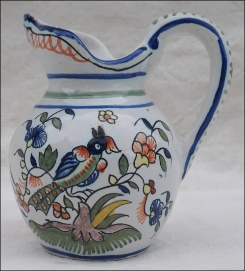 Faience Small Pitcher Creamer Sinceny Decor Angot Rouen