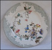 Flowered Plate Transferware Faience E Bourgeois Paris