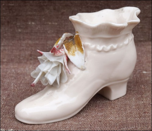 Miniature Shoe Boot Flower Porcelain Early 20th Century