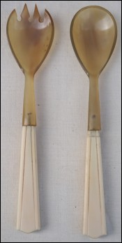 Art Deco Salad Server Set Ivory Horn 1930