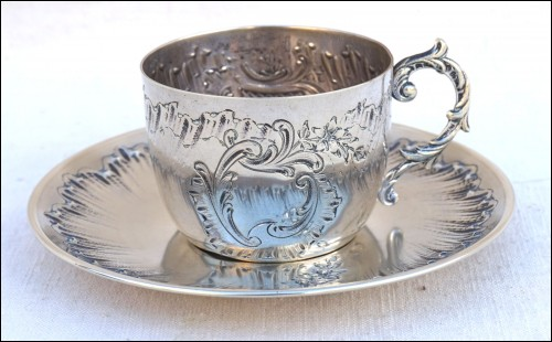 Cup and Saucer Nickel Silver Plate Louis XV Style 1900