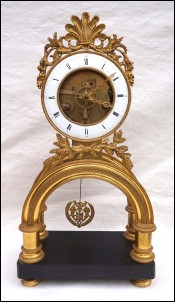 Empire Skeleton Clock Ormolu Engraved Bronze Paris Movement