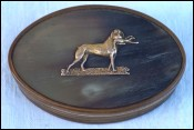 Empire Hunting Dog Pointing Gold Horn Snuff Box