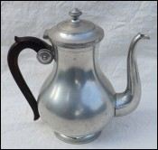 Pewter Lidded Teapot w Rosewood Handle Signed
