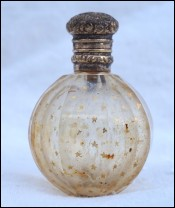 Perfume Scent Bottle Beveled Gilt Crystal Glass Vermeil