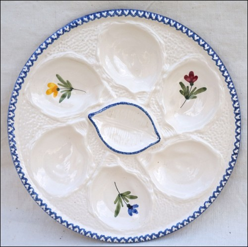 Oyster Plate Faience St Clement Cocorico