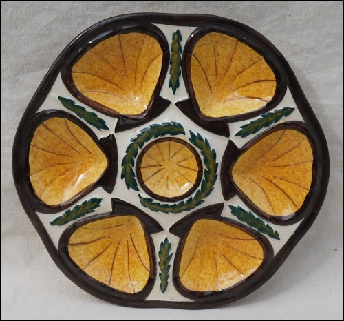 Gold Oyster Plate St Jean Bretagne Faience Near Quimper