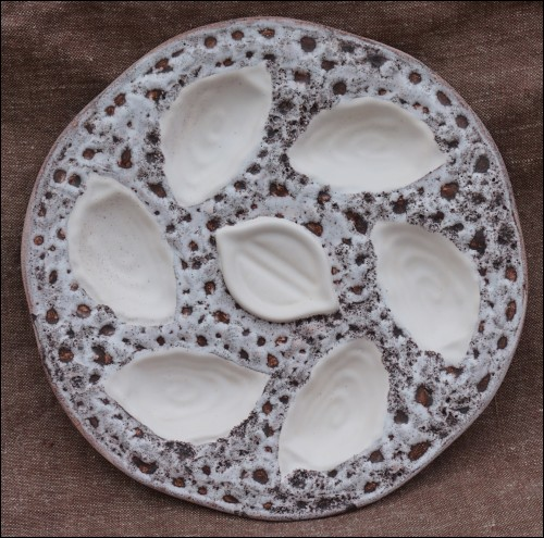 Orfinox French Large Oyster Plate Faience Vintage