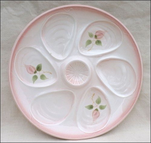 Oyster Plate Rose Hand Painted Faience Salins 1950