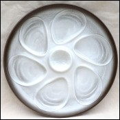 Oyster Plate Brown & White Hand Painted Faience Salins 1950