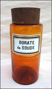 Apothecary Jar Amber Glass Porcelain Label Sodium Borate 19th C