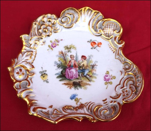 DRESDEN Meissen Gilt Hand Painted Porcelain Scalloped Small Dish Tidy 19th C