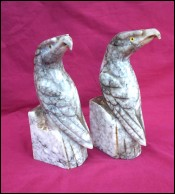 Eagles Bookends Carved Carrera Marble Italian Art Deco Glass Eyes 1940