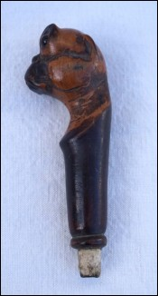 Mastiff Dog Head Wood Carved Glass Eye Walking Cane Handle Late 19th C