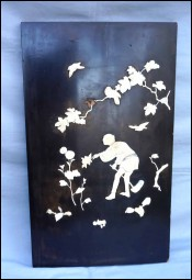 Japanese Shibayama Wall Panel Gardener Carved Birds Flowers Meiji Period Late 19th C