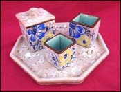 Art Deco Enameled Ceramic Set Louis Dage Signed