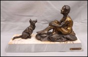 Confidence Young Lady with Dog Spelter Statue Figure B Sollazzini Art Deco