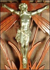 Large Black Forest Crucifix Silvered Bronze Spelter