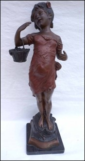 Vintage Little Girl with Basket Painted Brass Figure 26 3/4