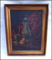 B BALDI Pewter Pitcher Still Life Framed Oil Canvas Painting Paris 1891