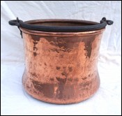 Dovetailed Hammered Copper Wrought Iron Handle Cauldron Bucket Pail Pot