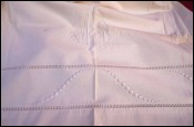 Embroidered Bed Sheet Ladder Work Mono MG White Cotton 110