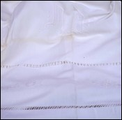 Embroidered Bed Sheet Ladder Work Mono MD White Cotton 110