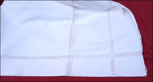 Embroidered Bed Sheet Ladder Work White Metis 118 x 78 3/4