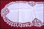 Oval Table Runner Centerpiece Embroidered Lace Flower 32 1/2