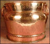 Cauldron with Rings French Hammered Copper 1900