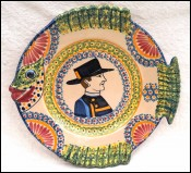 QUIMPER HENRIOT Fish Shaped Little Breton Plate Corbeille Faience F