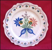 MALICORNE Bouquet Flowers Scalloped Plate French Hand Painted Faience