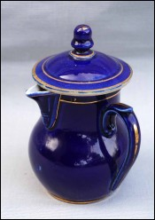 St UZE French Cobalt Blue Enameled Stoneware Lidded Creamer Pot