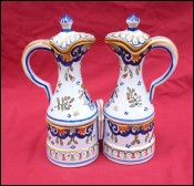 DESVRES Oil Vinegar Cruets Stand Rouen Decor Faience H Delcourt 1930