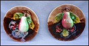 Majolica Barbotine Trompe l'Oeil Pear Pair Plates Orchies 1920