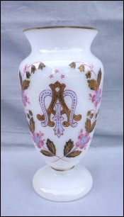 Hand Painted Gilt Enameled Opaline Glass Wedding Vase A M Mono 19th C
