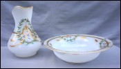 Saint Louis French Gilt Enameled White Opaline Glass Vanity Wash Set Pitcher Basin 19th C