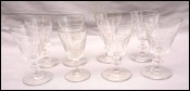 BACCARAT ST LOUIS French Cut Crystal Caton Pattern 8 Wine Glasses 1910's