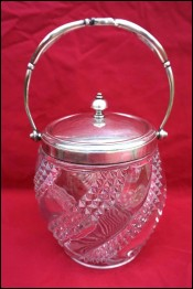 BACCARAT Art Nouveau Biscuit Lidded Bucket Cookies Jar Box Pressed Glass Silver Plate