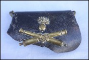 French Second Empire Artillery Cartbridge Box Model 1860 Leather Brass