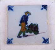 DELFT Coal Delivery Man Polychrome Hand Painted Faience Tile 3