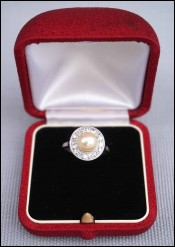 Art Deco Platinum 7.3mm Pearl Diamond Ring Engagement Wedding