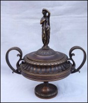 F BARBEDIENNE Diana Artemis Urn Vase Bowl w Lid French Bronze 19th C