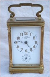 Alarm Travel Clock Beveled Glass Bronze F Stenn Paris 1900