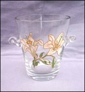 Enameled Crystal Glass Lily Lilium Ice Bucket Cooler Vintage
