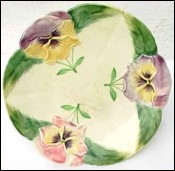 French Majolica H Boulenger Pansy Compote Candy Dish