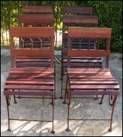 Chic Suite 6 Chairs Wood Wrought Iron