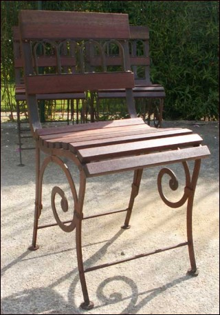 6 Chairs Wood Wrought Iron